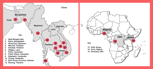 TRAC collected samples from 1,200 patients with uncomplicated malaria at 15 study sites in Africa and Asia.